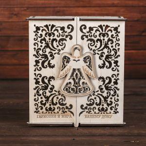 "Ключница дерево ""Ангел. Гармонии и мира вашему дому"" 18х20,5х6 см 3694243"