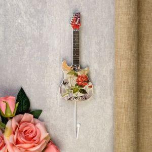"""Крючок декоративный дерево """"Цветочная гитара"""" 28х6,5х5 см   4764192"""