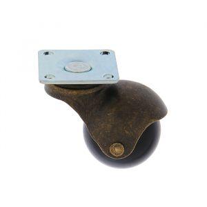 """Колесо мебельное """"Шар"""", d=40 мм, без тормоза, на площадке, цвет основания бронза   3837453"""