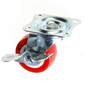 Колесо мебельное, d=40 мм, на площадке, с фиксатором, красное 2371563