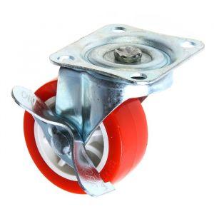Колесо мебельное, d=65 мм, на площадке, с фиксатором, красное 2371565