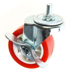 Колесо мебельное, d=65 мм, с футоркой, с фиксатором, красное 2371573