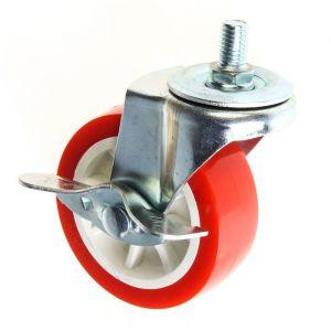 Колесо мебельное, d=75 мм, с футоркой, с фиксатором, красное 2371574