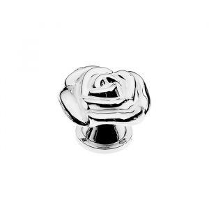 Ручка кнопака Rose 01, белая с серебряным 4647189