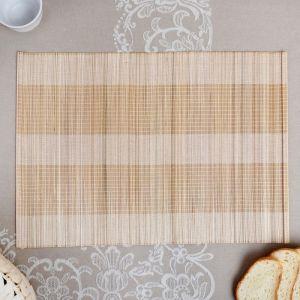 Салфетка плетёная, бежевая, 30?40 см, бамбук 4427944