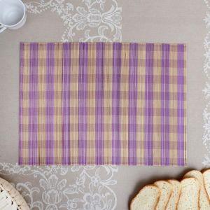 Салфетка плетёная, бежево-фиолетовая, 30?40 см, бамбук   4427946