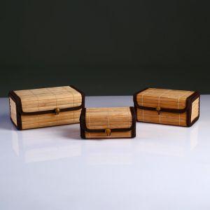 Набор сундучков из 3х Big 21х13 см Н 9 см, бамбук , тесьма 4822638