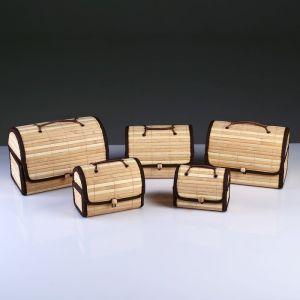 Набор сундучков из 5-ти Big 28х19 см Н 20 см, бамбук , тесьма 4822637