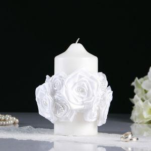 Декор на свечу с серебристыми бусами «Розы», айвори