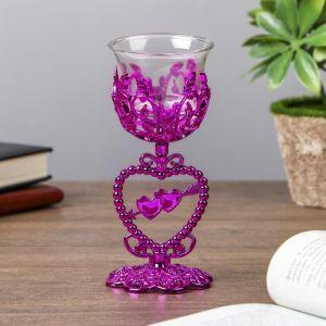 "Подсвечник пластик, стекло на 1 свечу ""Тройное сердце"" бокал на ножке фиолет 15х6,3х6,3 см   4287734"