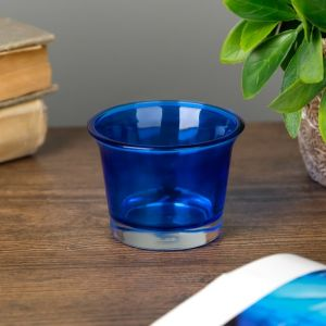 "Подсвечник стекло на 1 свечу ""Глянец"" синий 4,7х6,2х6,2 см   4757291"