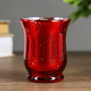 """Подсвечник стекло на 1 свечу """"Мерцание"""" красный 8,7х7,5х7,5 см   4104823"""