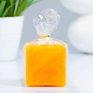Свеча- квадрат, парафиновая, оранжевая, 5,6?5,6?5 см   4205662