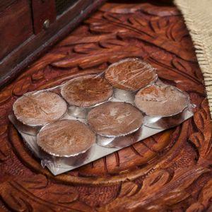"""Набор свечи в гильзе """"Платинум"""" 6 шт шоколад 11,5х8х1,5 см 2361513"""