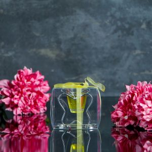 "Свеча гелевая на подставке ""Бабочка"", цвет желтый"