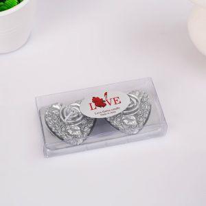 """Набор свечей """"Сердце в розой"""", 5х2,5см, серебряный   4385131"""