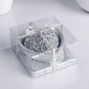 """Свеча """"Сердце"""" 9х4,5см, серебро   4385117"""