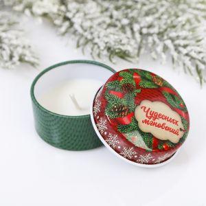 Новогодняя свеча «Чудесных мгновений», в железной банке 4273779