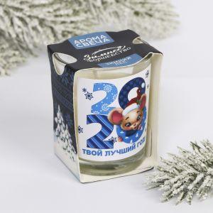 Свеча ароматическая в стекле «Твой лучший год», зимний лес