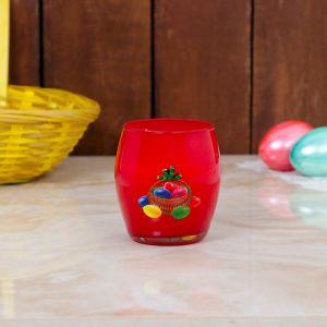 Свеча парафиновая в стекле с пасхальным декором, КРАСНАЯ   3258445
