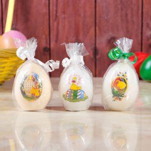 """Свеча пасхальная """"Яйцо белое"""" малое, с деколью, микс   3258442"""