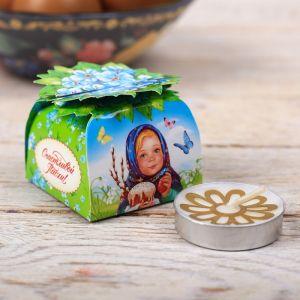 Свеча пасхальная в коробочке «Девочка с вербой»