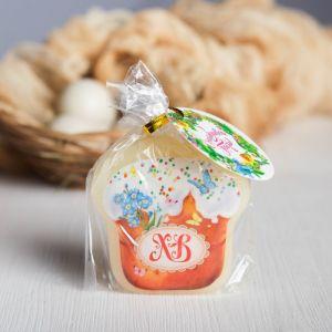 Пасхальная свеча-кулич с картинкой «ХВ»