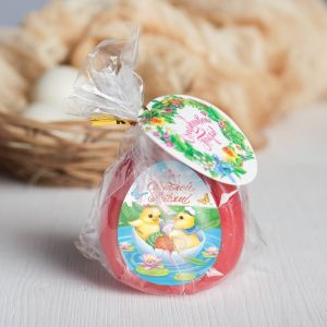 Пасхальная свеча-яйцо с картинкой «Светлой Пасхи!»
