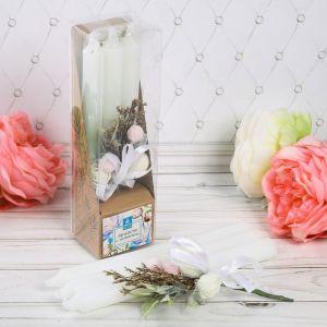"""Набор свечи высокие с цветами """"Легкости и нежности"""""""