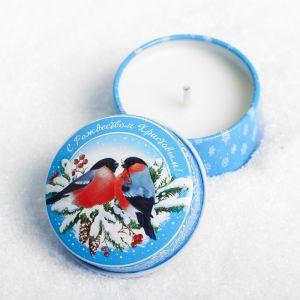 Свеча в баночке «Снегири»
