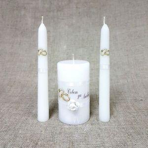 """Набор свечей """"Совет да любовь с розой"""" белый: Родительские свечи 1,8х15;Домашний очаг 5,2х9, 2554847"""