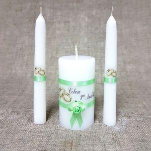 """Набор свечей """"Совет да любовь с розой"""" мятный: родительские свечи, домашний очаг 2425159"""
