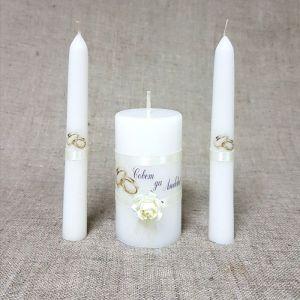 """Набор свечей """"Совет да любовь с розой"""" шампань: Родительские свечи 1,8х15;Домашний очаг 5,2х 2425163"""