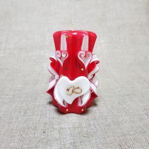 """Свеча резная 10-11см""""Свадебная"""" Бело-красная, ручная работа   1424881"""