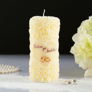 """Свеча свадебная """"Сердце в розах"""", шампань, 6,5?14,5 см   4385199"""