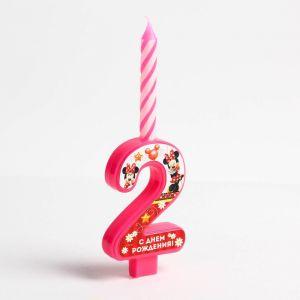 """Свеча в торт цифра Дисней """"2"""", Минни Маус"""