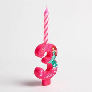 """Свеча в торт цифра Дисней """"3"""", Принцесса: Русалочка"""