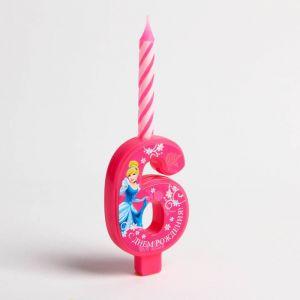 """Свеча в торт цифра Дисней """"6"""", Принцесса: Золушка"""
