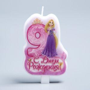 """Свеча в торт Дисней """"С днем рождения"""" цифра 9 Принцессы"""