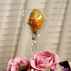"""Свеча из вощины """"Яйцо"""" на палочке, медово- жёлтая, с декором 4852685"""