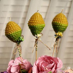 """Свеча из вощины """"Яйцо"""" на палочке, медово- зелёная, с декором 4852687"""