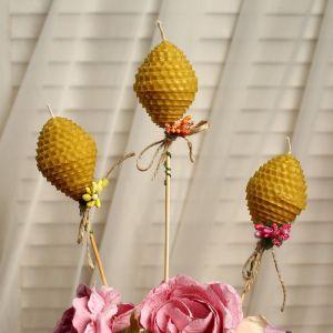 "Свеча из вощины ""Яйцо"" на палочке, с декором, микс 4852688"