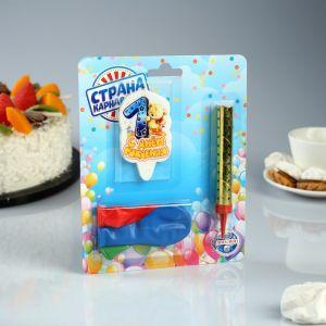"""Подарочный набор """"Мишка с подарком"""" из 3ех предметов: свеча-фонтан, шары и свеча- цифра """"1"""" 4810223"""