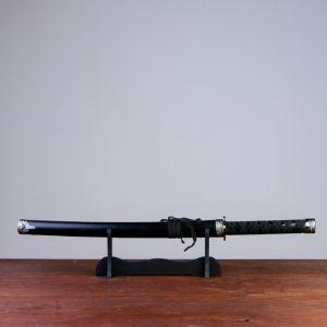 Сувенирное оружие «Катана на подставке», чёрные ножны под змеиную кожу, 70см 417137