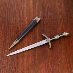 Кортик, рукоять черная со вставкой из бронзы, металл, пластик, 35 см 732747
