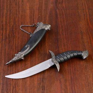 Сувенирный нож изогнутый, 26,5 см, на ножнах длинный завиток, чёрный 258166