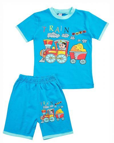 "Костюм для мальчика Bonito kids ""Train cute"" голубой"