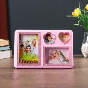 """Фоторамка пластик на 4 фото 6х6, 9х13, 10х15 см """"Love"""" розовая с золотом 19х28,5 см   4592583"""