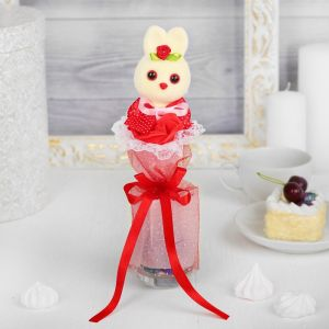 Букет с зайчиком «Я люблю тебя», красный цветок