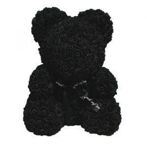 Мишка из роз 25 см, Чёрный   4233527